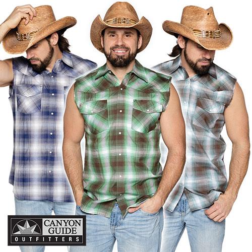 Sleeveless Western Plaid Shirts