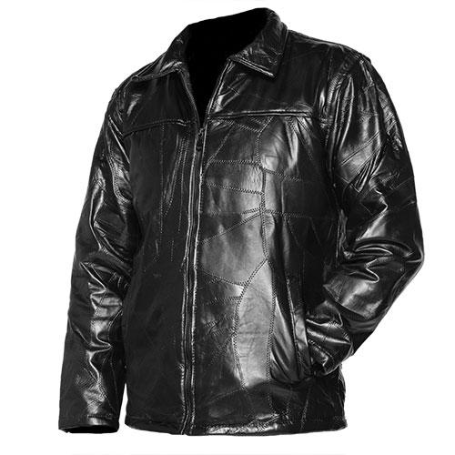 Men's Patch Leather Coat