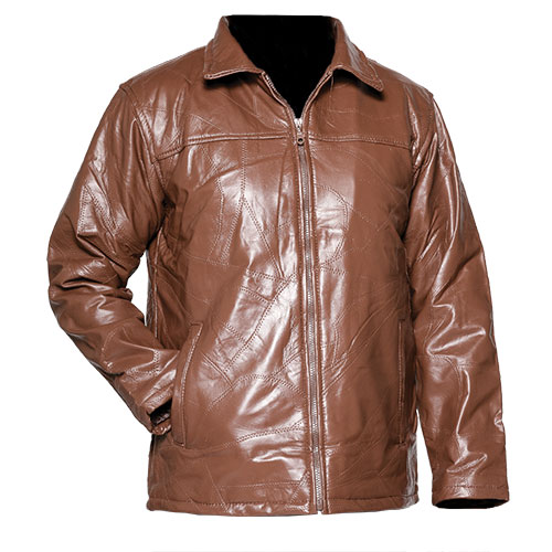 Men's Patch Leather Coat