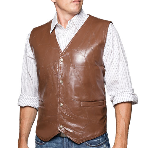 Brown Patch Leather Vest