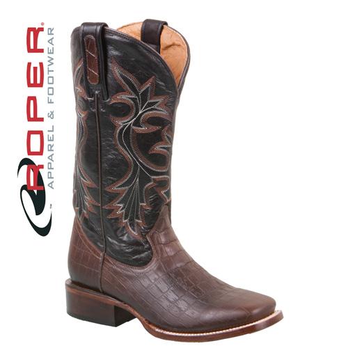 'Roper Caiman Print Boots - Black/Brown'