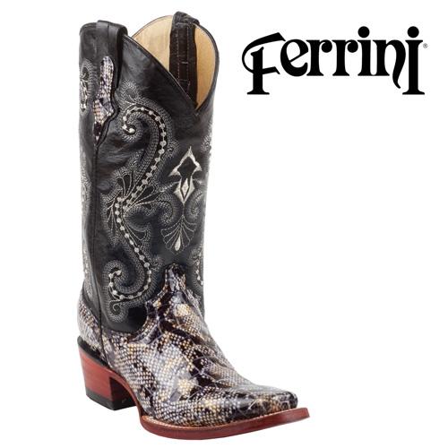 'Ferrini Womens Python Print Boots - Black'
