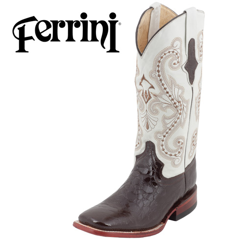 'Ferrini Faux Gator Boots - Dark Brown'