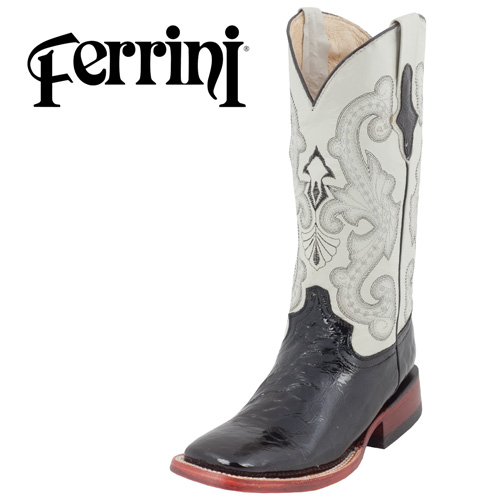 Ferrini Faux Gator Boots - Black