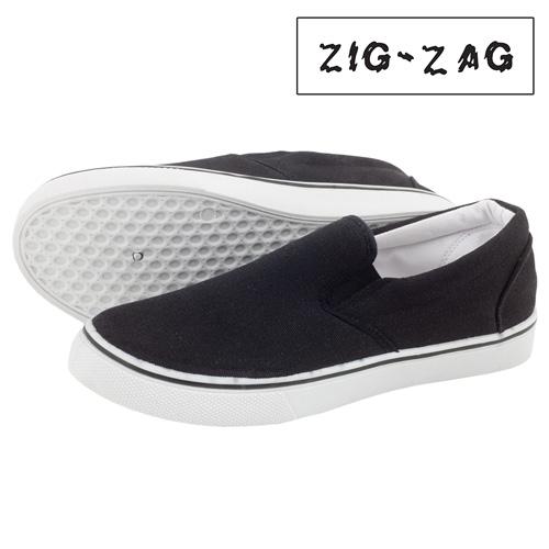'Zig-Zag Canvas Slip-Ons - Black'