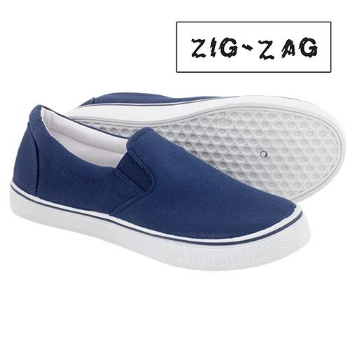 'Zig-Zag Canvas Slip-Ons - Navy'