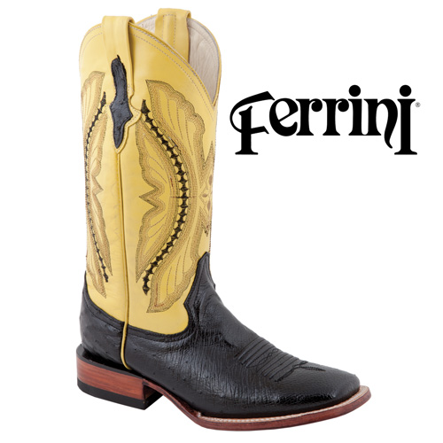 'Ferrini Smith Ostrich Boots - Yellow'