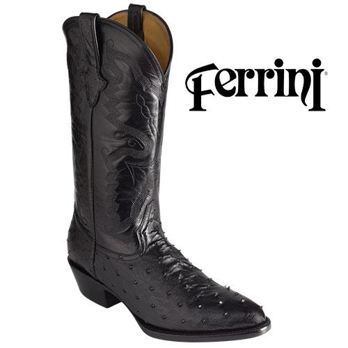 'Black Ferrini Ostrich Boots'