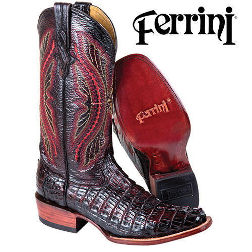 'Black Cherry Ferrini Caiman Boots'