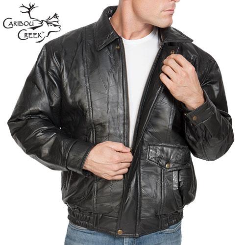 'Lambskin Leather Bomber Jacket'