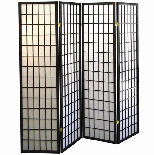 '4-Panel Room Divider - Black'