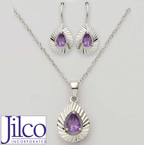 'Pear Shaped Amethyst Earring & Necklace Set'