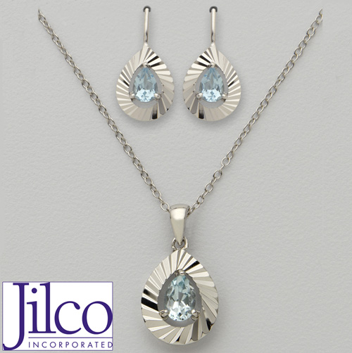'Pear Shaped Blue Topaz Earring & Necklace Set'