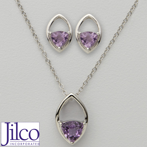 'Trillion Amethyst Earring & Necklace Set'