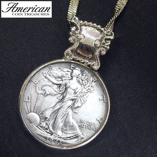 'Silver Walking Liberty Half Dollar in Silvertone Bezel'