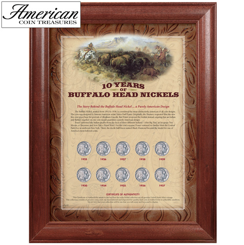 10 Years of Buffalo Nickels - Wood Frame