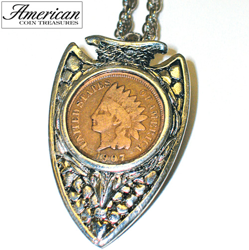 Indian Head Penny Silvertone Arrowhead Pendant