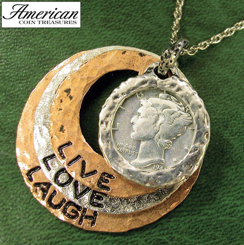 'Silver Mercury Dime Tri Color Circle Pendant Live/Love/Laugh 24 Inch Chain'