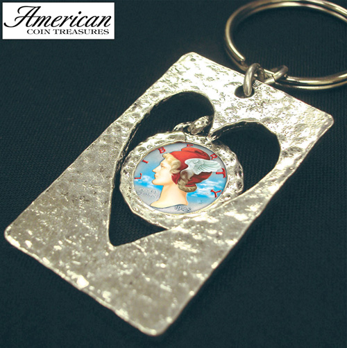 'Cut Out Heart Colorized Silver Mercury Dime Keychain'