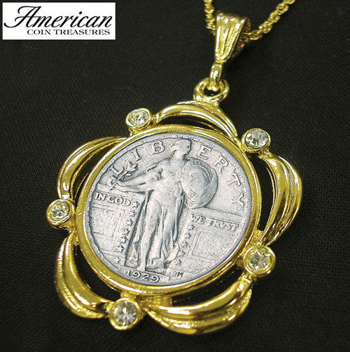 'Silver Standing Liberty Quarter Goldtone Pendant Scalloped with Crystals and 24 Inch Chain'