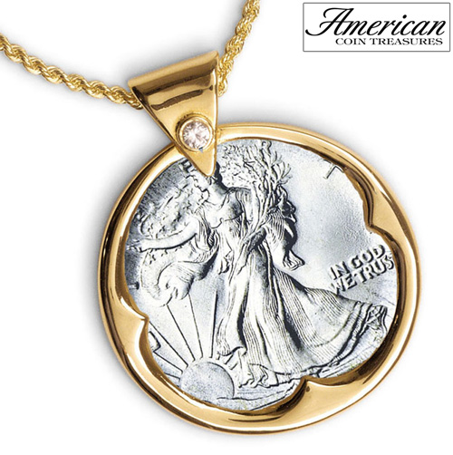'Silver Walking Liberty Half Dollar Goldtone Pendant with Crystal Bail 24 Inch Chain'