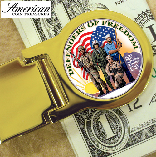 'Goldtone Defenders of Freedom New York Statehood Quarter Money clip'