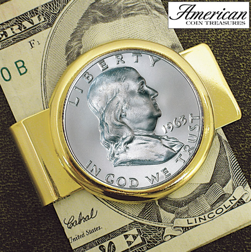 'Half Dollar Goldtone Money Clip'