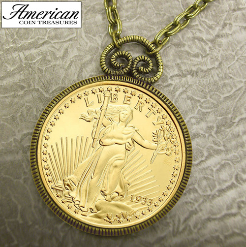 '1933 Double Eagle $20 Gold Piece Replica Pendant'