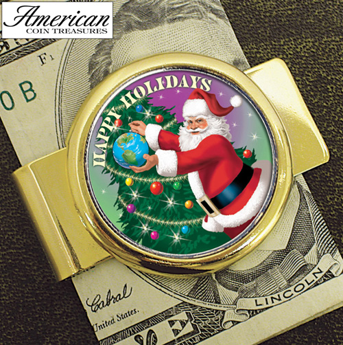 'Goldtone Money clip with Colorized JFK Half Dollar Santa Coin'