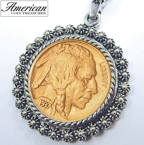 'Gold-Layered Buffalo Nickel Silvertone Blossom Pendant 24 inch Chain'