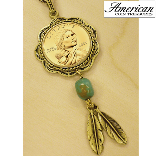 'Sacagawea Brass and Turquoise Pendant'