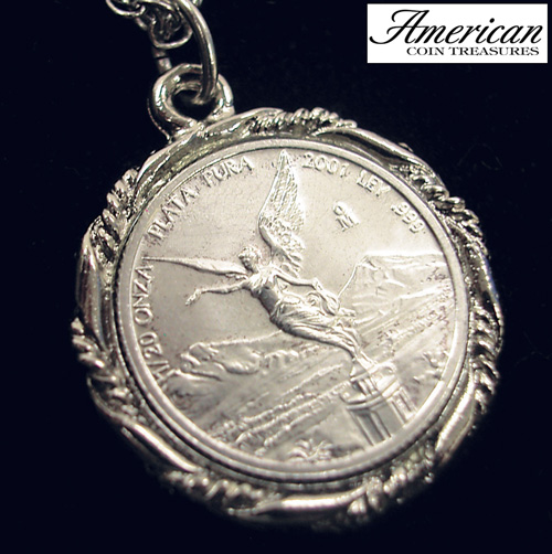 'Silver Mexican Libertad Angel Pendant'