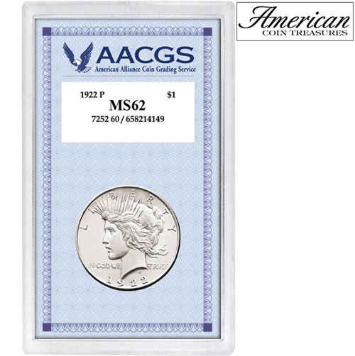 '1922 Peace Silver Dollar Graded MS62'