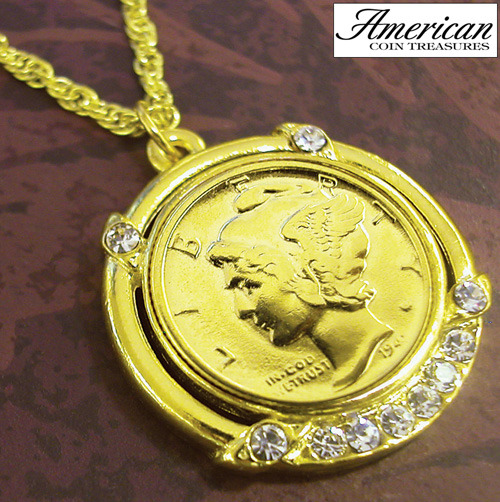 'Gold-Layered Silver Mercury Dime Pendant'