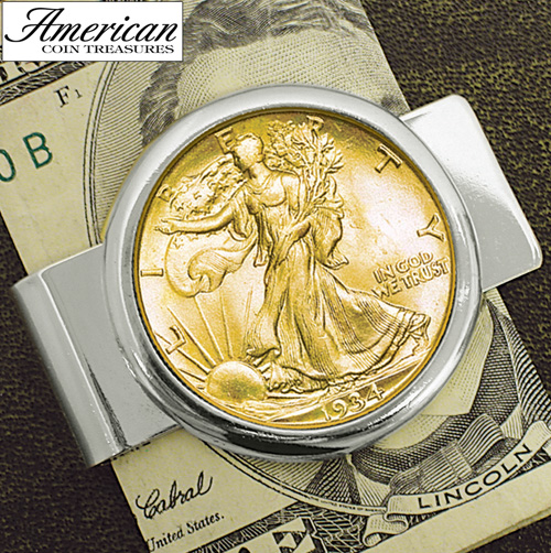 'Silvertone Money clip with Silver Walking Liberty Half Dollar'