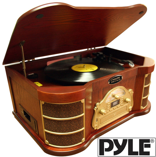 'Nostalgia Stereo with Turntable/USB Record/iPod® Connectivity'