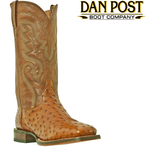 'Dan Post Cognac Full Quill Ostrich Boots with Square Toe'