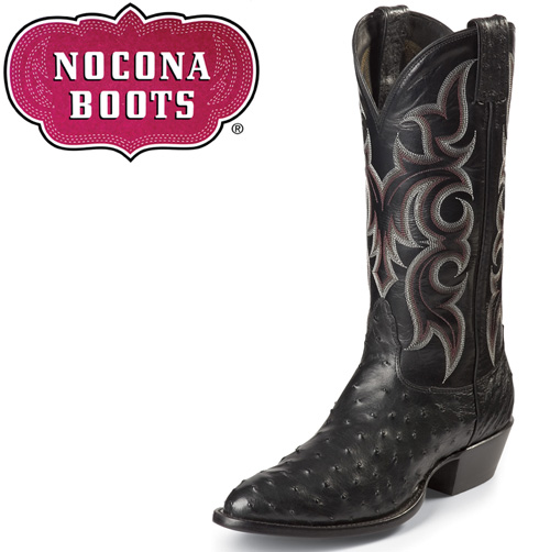 'Black Full Quill Ostrich Boots'