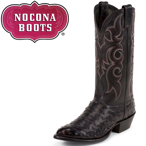 'Black Cherry Full Quill Ostrich Boots'