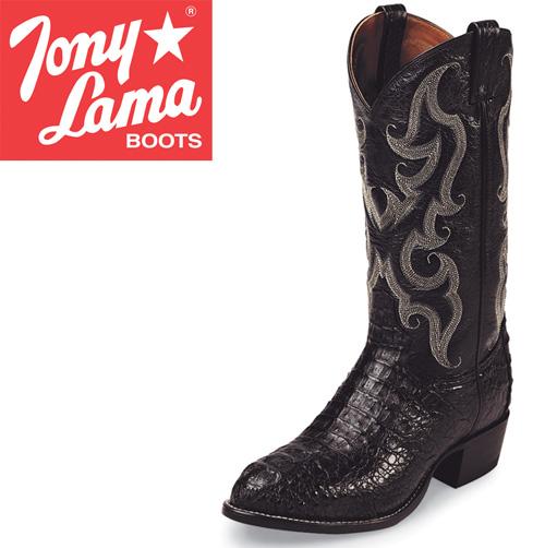 'Tony Lama Black Caiman Boots'