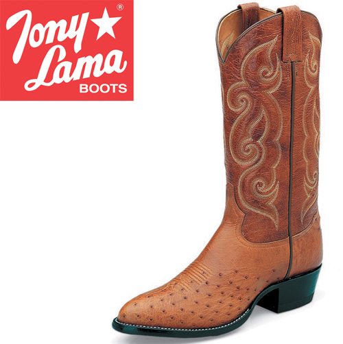 'Tony Lama Peanut Brittle Smooth Ostrich Boots'