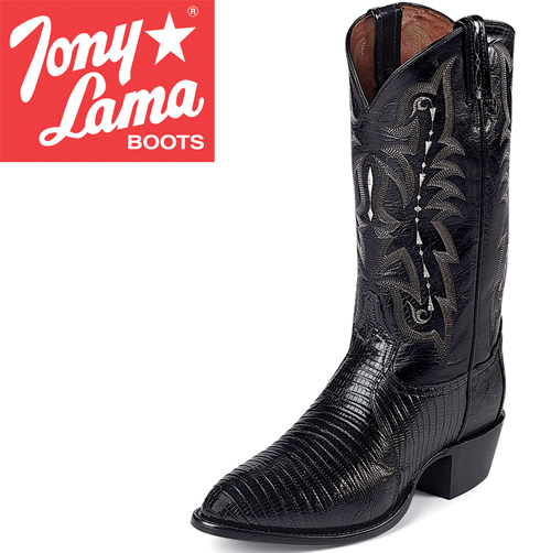 'Tony Lama Black Teju Lizard Boots'