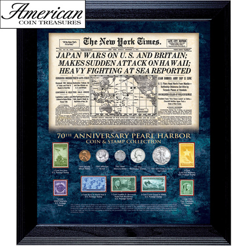 'New York Times Pearl Harbor 70th Anniversary Coin and Stamp Collection Framed'