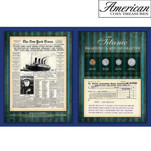 'New York Times 1912 Coin Collection with Marconi Telegram'