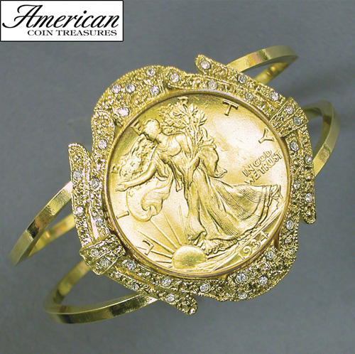 'Gold-Layered Silver Walking Liberty Half Dollar Goldtone Coin Cuff Bracelet with Crystals Coin Jewelry'