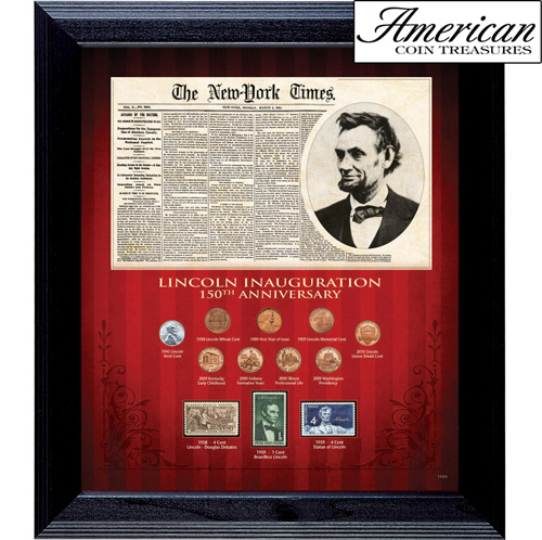 'New York Times Lincoln Inauguration 150th Anniversary Coin and Stamp Collection Framed'