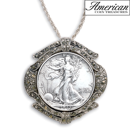 'Silver Walking Liberty Half Dollar Marcasite Coin Pin/Pendant'