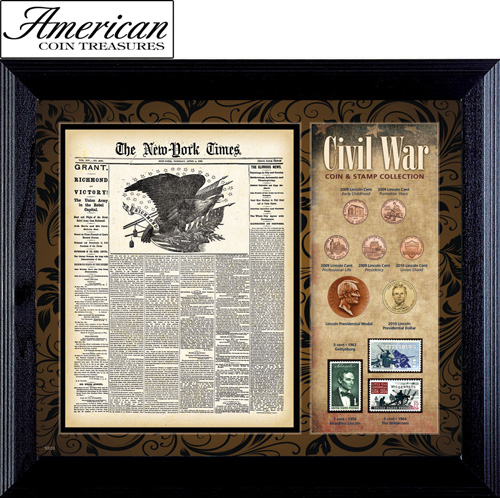 'New York Times Civil War Coin & Stamp Collection Framed'