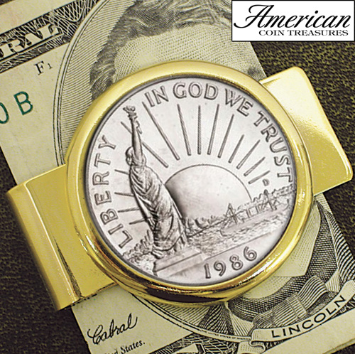 '1986 Statue of Liberty Commemorative Half Dollar Coin in Goldtone Money Clip'