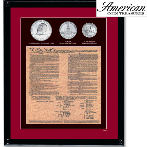 'Framed U.S. Constitution With All 3 Bicentennial Coins'
